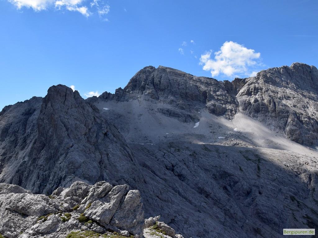 Blick vom Hinterbergkopf zu Wimbachschneid, Hocheisspitze und Hinterberghorn
