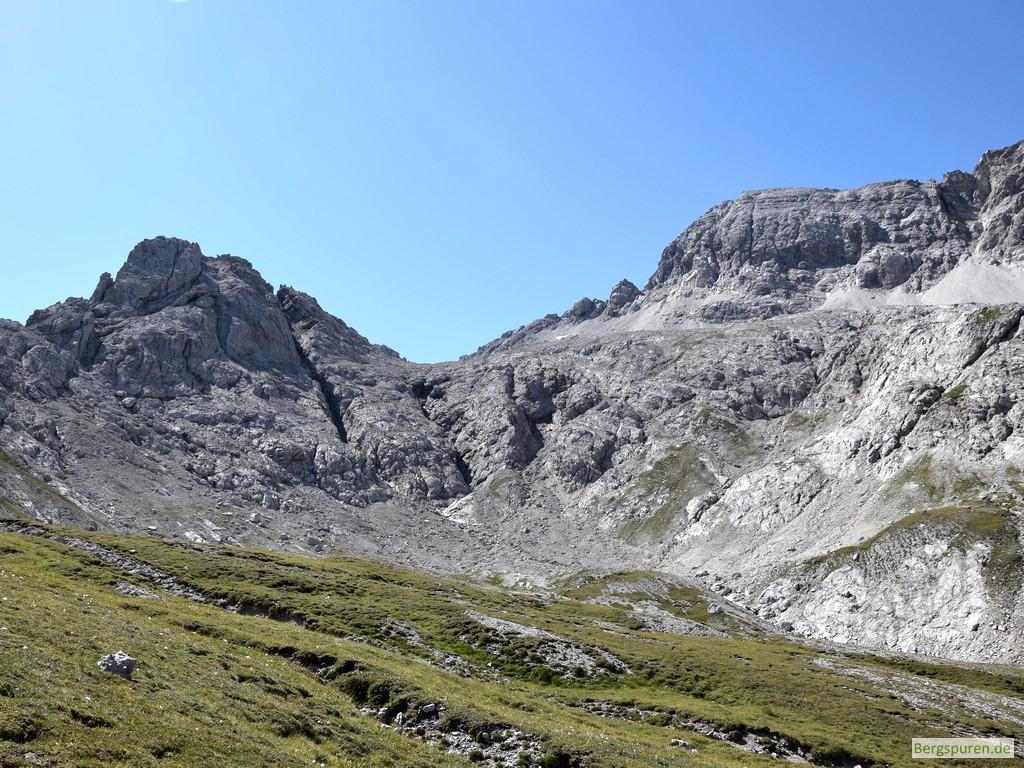 Wimbachschneid und Hocheisspitze beim Anstieg zum Hinterbergkopf
