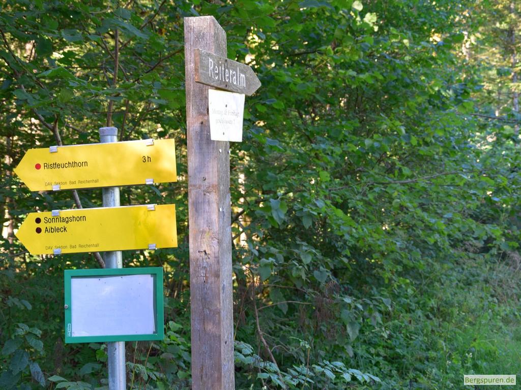 Wegweiser zur Reiteralm bei Weißbach
