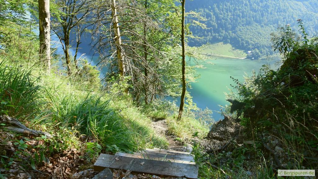 Sagerecksteig - Holztreppe von oben