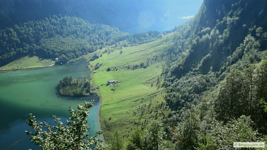 Blick hinab zu Saletalm, Königssee und Obersee