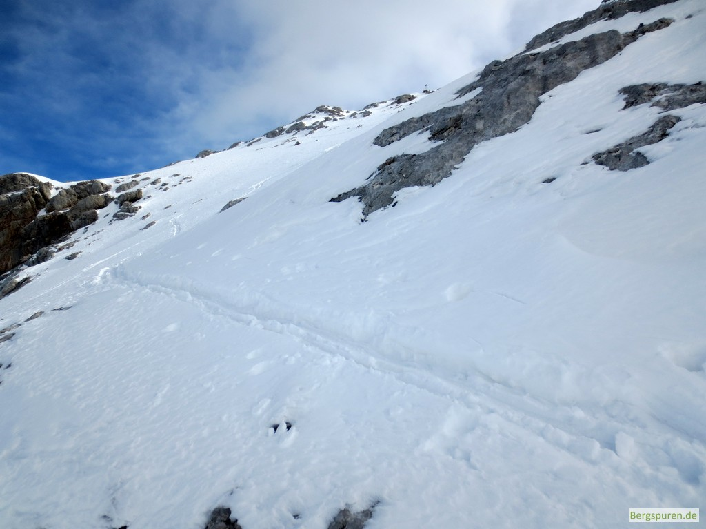 Skitouren-Aufstiegsspur zum Kuchelnieder