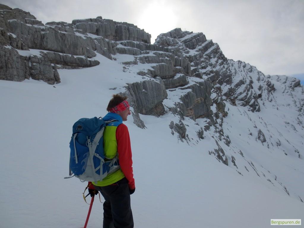 Beginn des Gipfelanstiegs zum Birnhorn im Winter