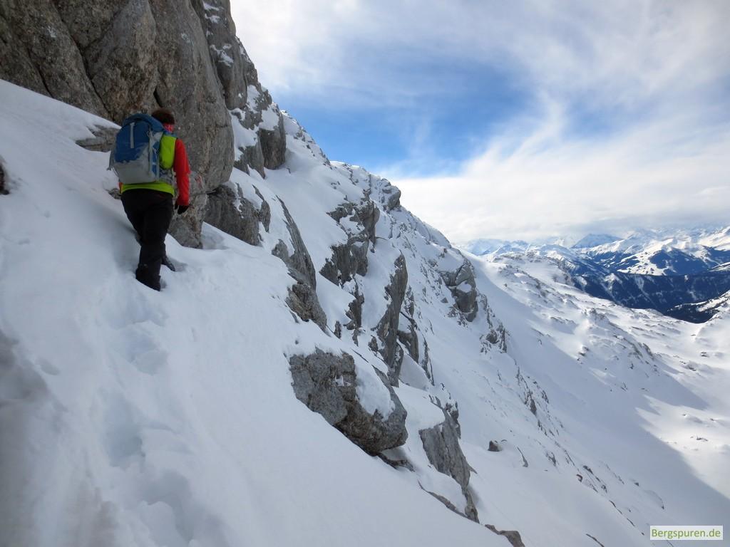 Ausgesetzte Passage beim Gipfelanstieg zum Birnhorn