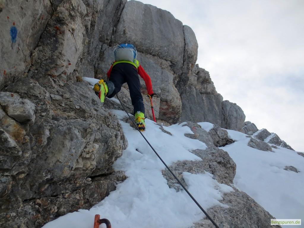 Gesicherte Kletterpassage am Birnhorn