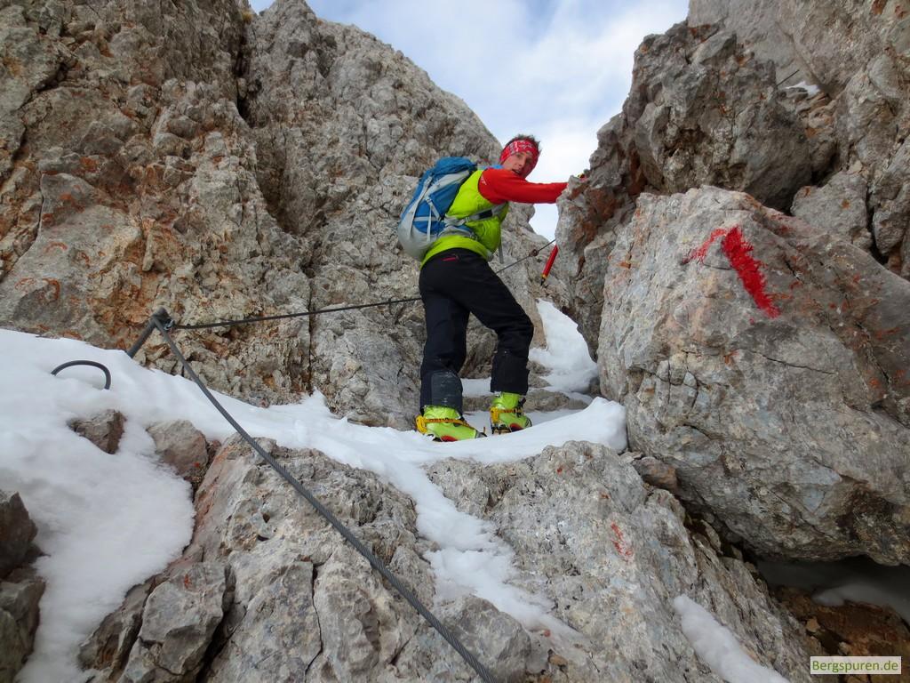 Gesicherte Kletterstelle am Birnhorn in den Leoganger Steinbergen