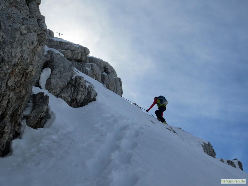 Steile gesicherte Passage beim Gipfelanstieg zum Birnhorn