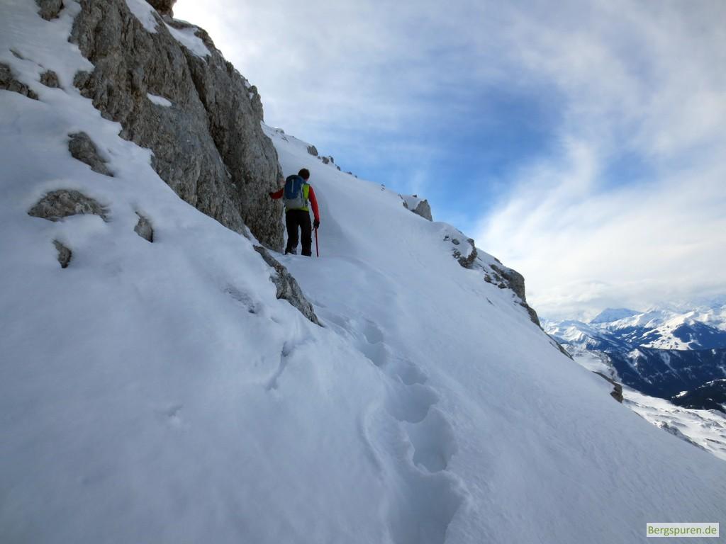 Steiler Schneehang beim Birnhorn-Gipfelanstieg