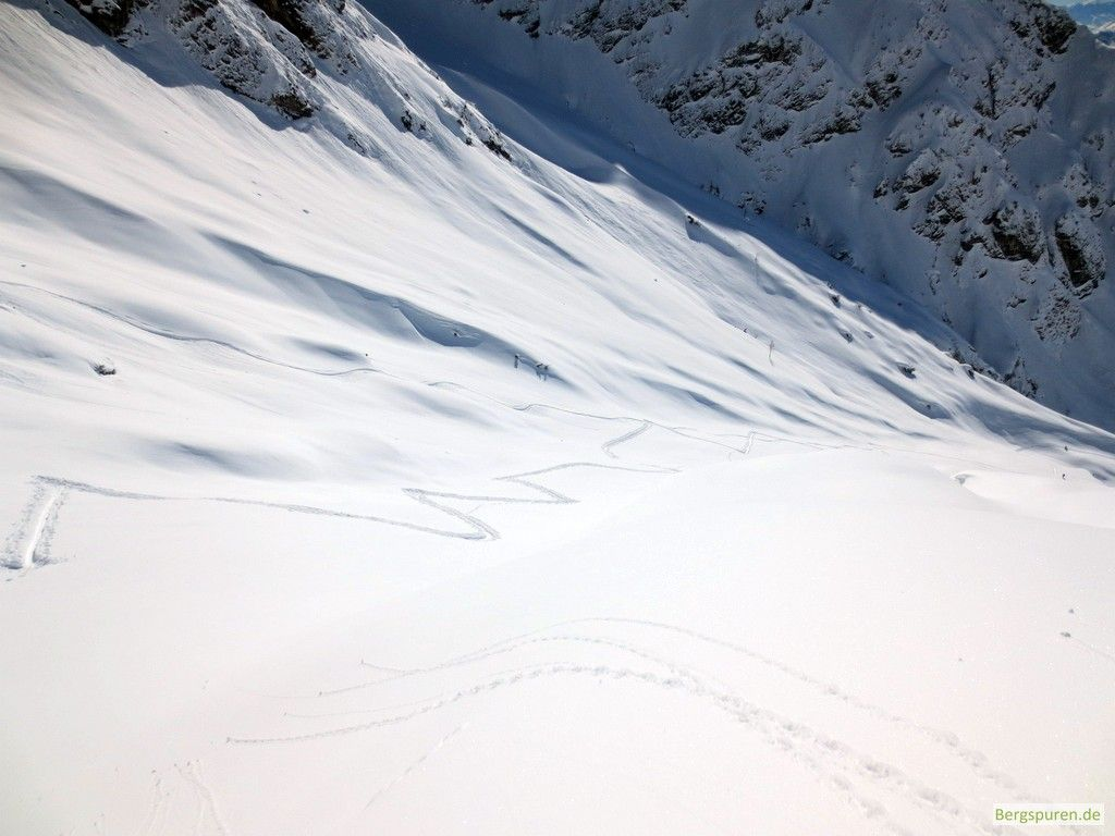 Aufstiegsspur bei der Skitour Buchauer Scharte