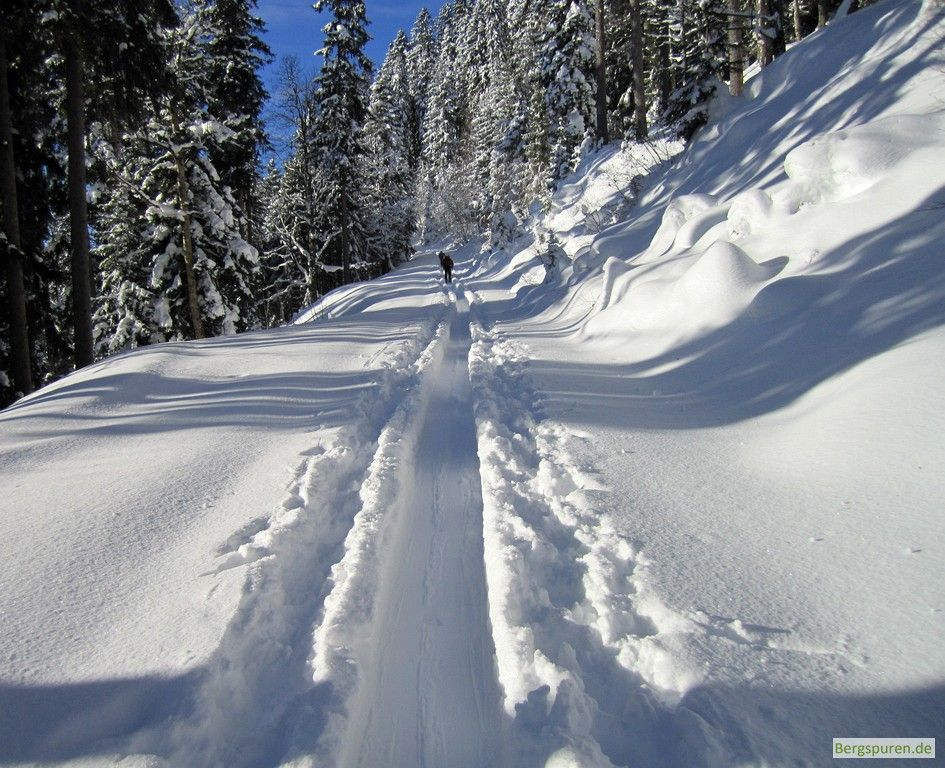 Flache Aufstiegsspur auf schneebedeckter Forststraße