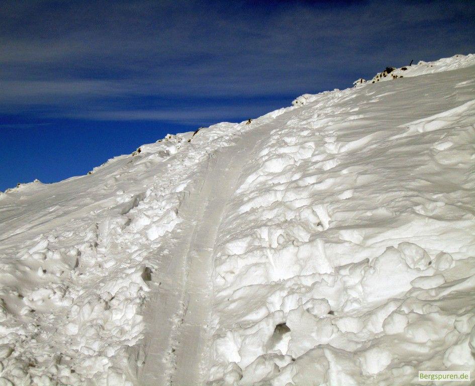 Skitour Gamsknogel: Aufstiegsspur kurz vor dem Gipfel