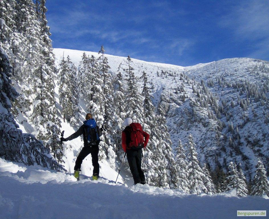 Skitourengeher bei der ehemaligen Rinnerauer Alm mit Blick Richtung Zwiesel