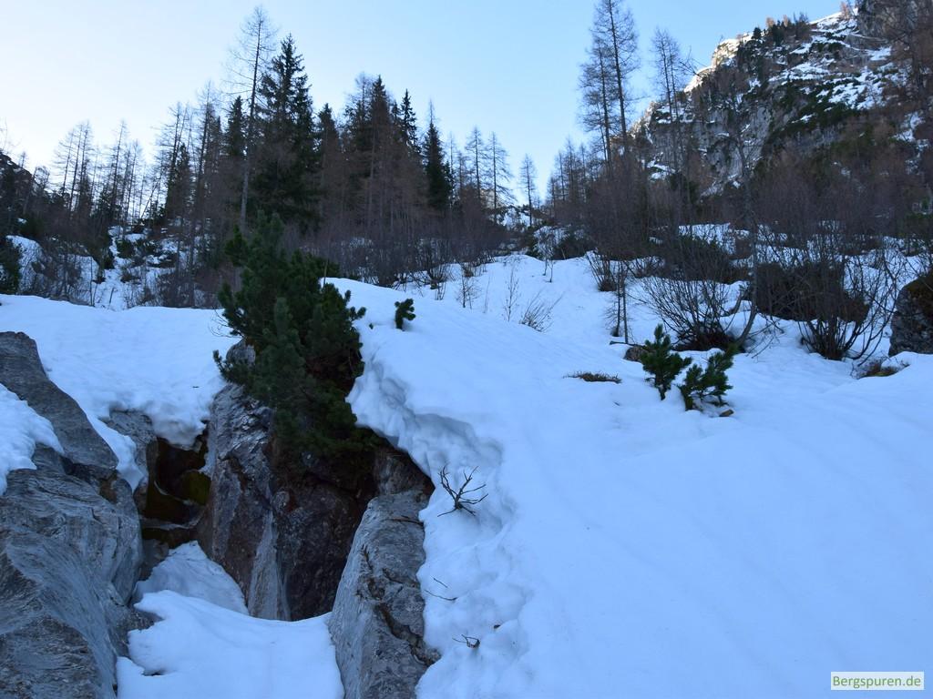 Querung des verschneiten Sittersbachs