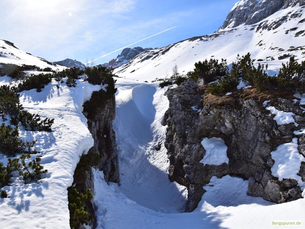 Skitour Steintalhörndl - Querung verschneiter Sittersbach